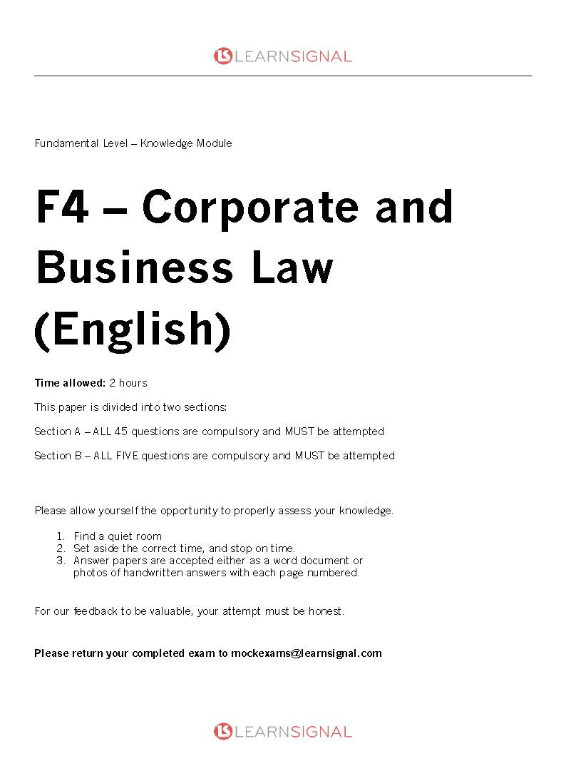 F4 mock exam questions cover